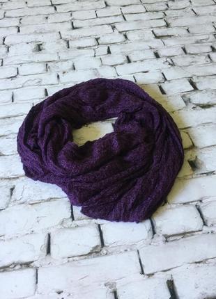 Красивый нежный фиолетовый шарф ажурная вязка