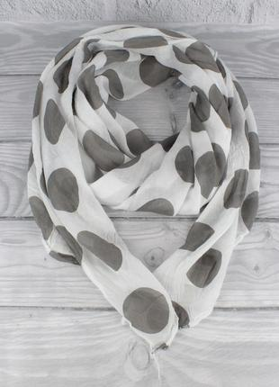 Итальянский шарф girandola 0001-104 белый в серый горох, коттон 80%, шелк 20%