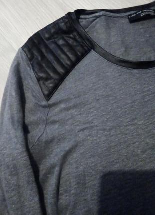 Кофточка джемпер zara с кожаными вставками