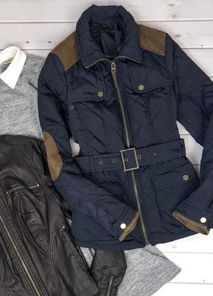 Осенняя  синяя стёганая куртка zara на синтепоне, размер s