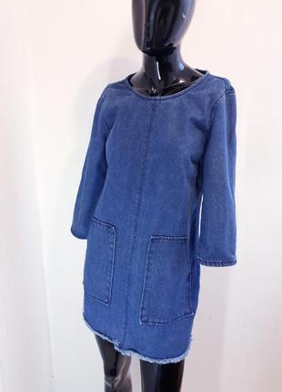 Джинсовое платье туника с карманами