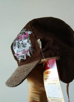 Вельветовая шапка на подкладке с ушками