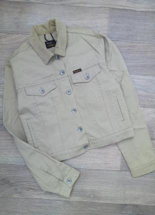 Куртка укороченая с вельветовым воротничком