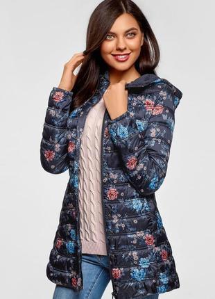Женская темно-синяя куртка с принтом цветы