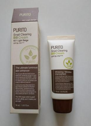 Bb-крем (#21 light beige) с муцином улитки purito snail clearing bb cream spf38/pa+++