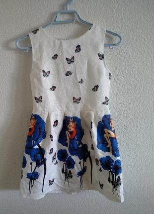 Платье летнее на девочку рост 160 бабочки сарафан