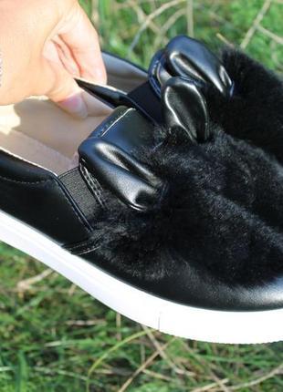 Новые слипоны с ушками, черные 25 см по стельке супер цена!!