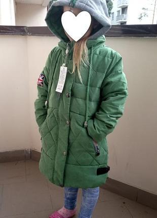 Пуховик на пуху для девочки зеленый хаки размер 128