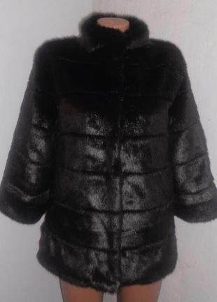 Шуба оверсайз из искусственного меха норка поперечка sashina faux fur