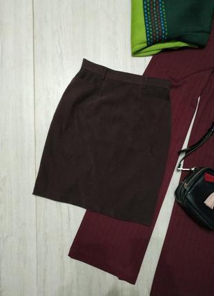 Плотная юбка с карманами de ville. коричневая юбка с высокой талией