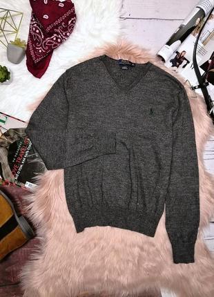 Серый шерстяной джемпер свитер от ralph lauren