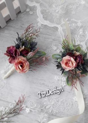 Бутоньерка и браслет на руку свадебные. набор свадебный
