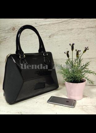 Женская лаковая сумка со вставкой похожей на нубук david jones 5832-3 черная