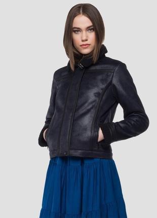 Женская короткая черная куртка дубленка replay {италия}