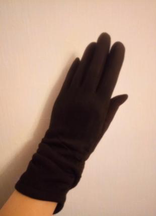 Замшевые утепленные перчатки с драпировкой5 фото