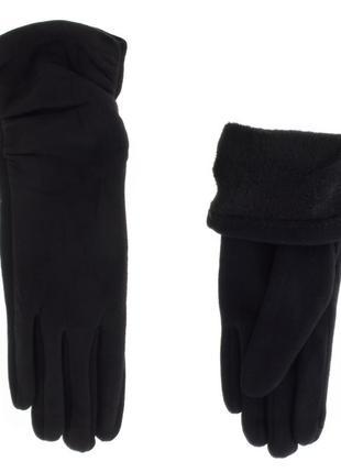 Замшевые утепленные перчатки с драпировкой3 фото