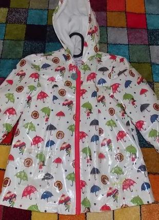 Фирменная курточка-дождевик waikiki р-р 128-134 на флисе.