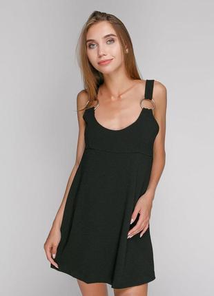 Черный плотный ромпер короткий шортами юбка обманка комбинезон на шлейках с кольцами