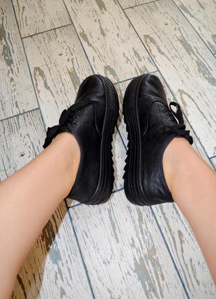 Черные женские оксфорды на платформе. туфли на платформе