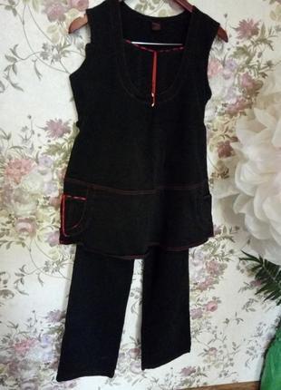 Костюмчик для беременных из плотного коттона(штаны и туника-сарафан)