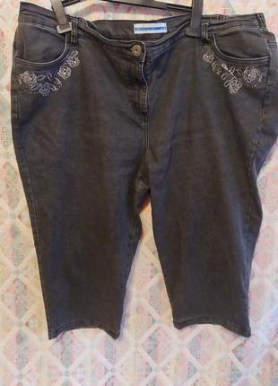 Капри бриджи шорты большой размер 24 26 вышивка