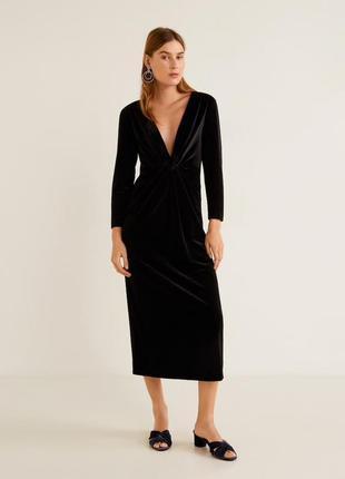 Mango бархатное платье с узлом, m, s