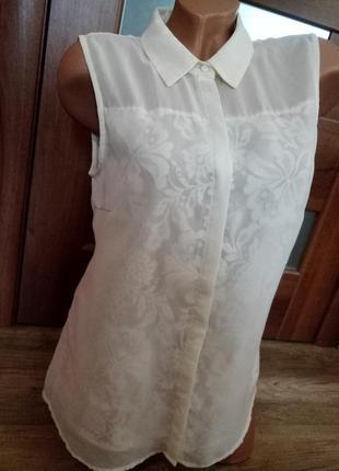 Шифоновая блуза vila clothes с кружевными вставками