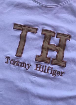 Женская белая базовая футболка tommy hilfiger4 фото