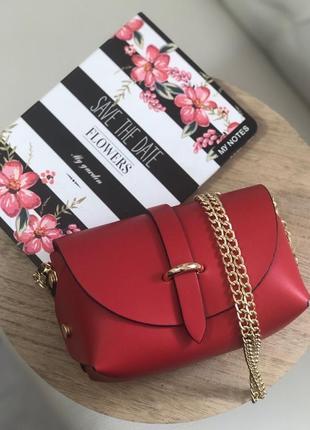 Красная кожаная сумочка на цепочке
