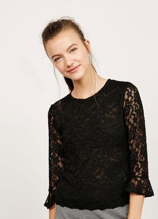 Sale кружевная гипюровая блуза с рюшами воланами zara bershka s - m