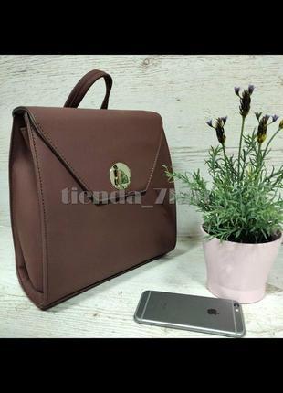 Стильный матовый женский рюкзак небольшого размера david jones sf006 т.розовый (d. brown)