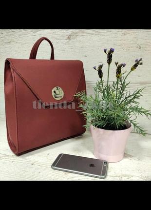Стильный матовый женский рюкзак небольшого размера david jones sf006 красный (d. bordeaux)