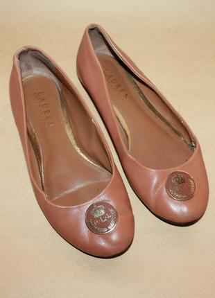 Кожаные туфли балетки ralph lauren
