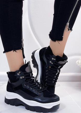 Новые шикарные женские черные осенние ботинки