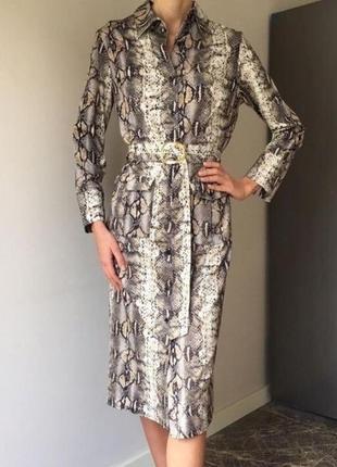 Новое платье змеиный принт zara