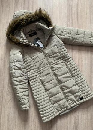 Пальто женское демисезонное бежевое длинное пуховик куртка с капюшоном vero moda