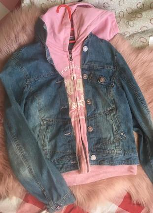 Куртка два в одном!  толстовка+джинсовая куртка