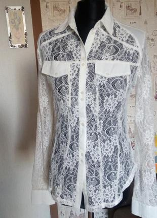 Ажурная кружево блузка рубашка.