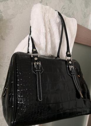 Шикарная большая кожаная сумка vera pelle, италия2 фото
