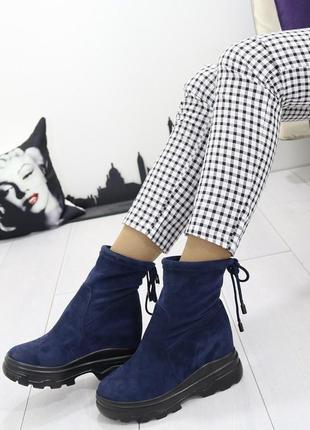 Новые шикарные женские осенние синие ботинки