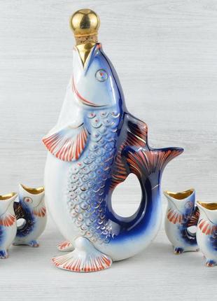 Фарфоровий винтажний сервіз статуетка рибки, срср