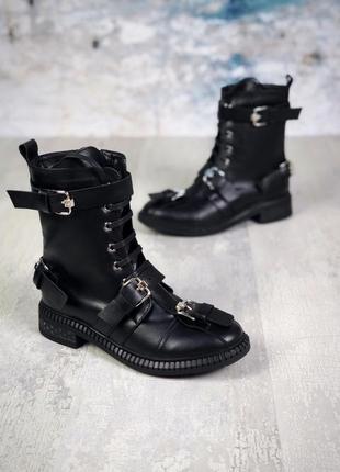 Хит-2019 натуральная кожа нереально крутые зимние кожаные ботинки с пряжками на шнурках