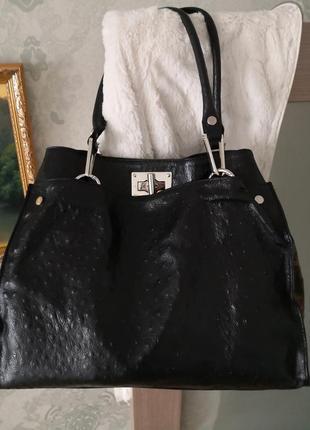 Большущая кожаная сумка borse in pelle, италия