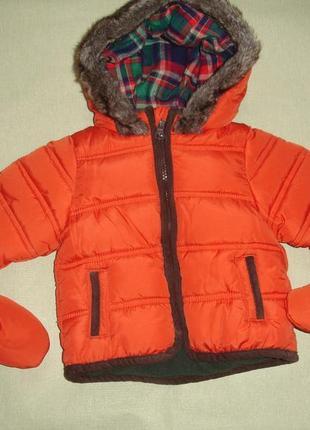 Фирменная m&s яркая куртка мальчику на 0-9 месяцев идеал