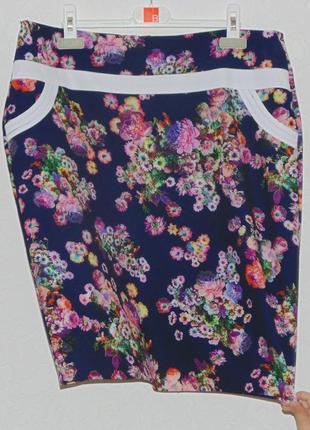 Актуальная качественная юбка в цветочный принт высокая талия