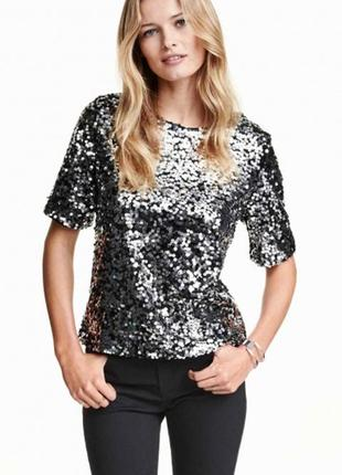 Брендовая блуза топ next паетки этикетка