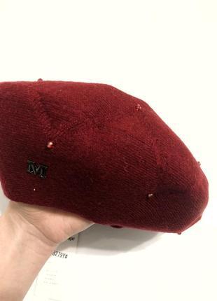 Берет двойной ангора с розсыпью камней марсала бордовый красный4 фото