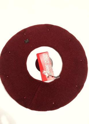Берет двойной ангора с розсыпью камней марсала бордовый красный5 фото