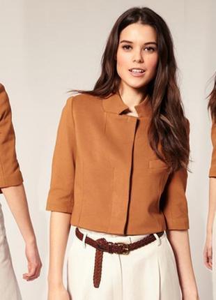 Брендовый коричневый пиджак жакет блейзер mango марокко вискоза