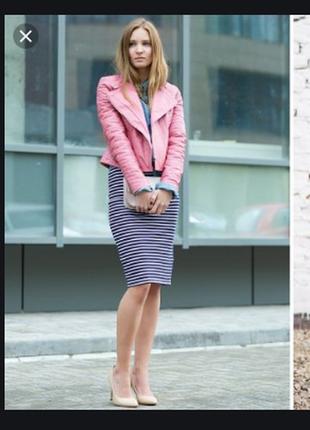Брендовая розовая куртка косуха на молнии с декоративным карманом h&m